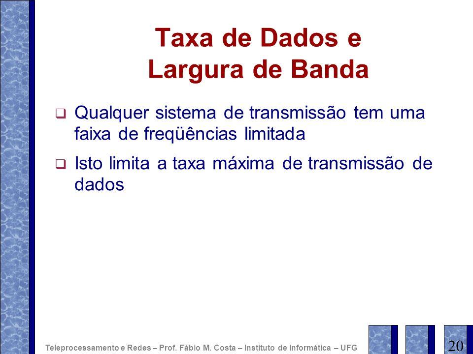 Taxa de Dados e Largura de Banda Qualquer sistema de transmissão tem uma faixa de freqüências limitada Isto limita a taxa máxima de transmissão de dad