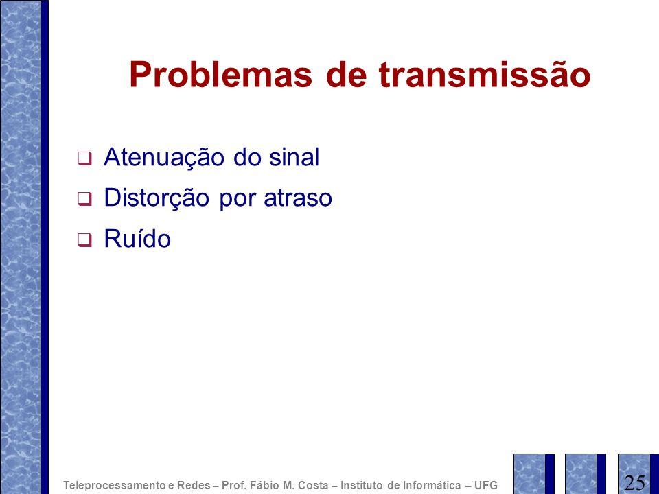 Problemas de transmissão Atenuação do sinal Distorção por atraso Ruído 25 Teleprocessamento e Redes – Prof. Fábio M. Costa – Instituto de Informática