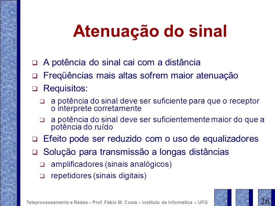 Atenuação do sinal A potência do sinal cai com a distância Freqüências mais altas sofrem maior atenuação Requisitos: a potência do sinal deve ser sufi