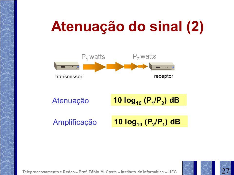 Atenuação do sinal (2) transmissor receptor P 1 watts P 2 watts Atenuação 10 log 10 (P 1 /P 2 ) dB Amplificação 10 log 10 (P 2 /P 1 ) dB 27 Teleproces