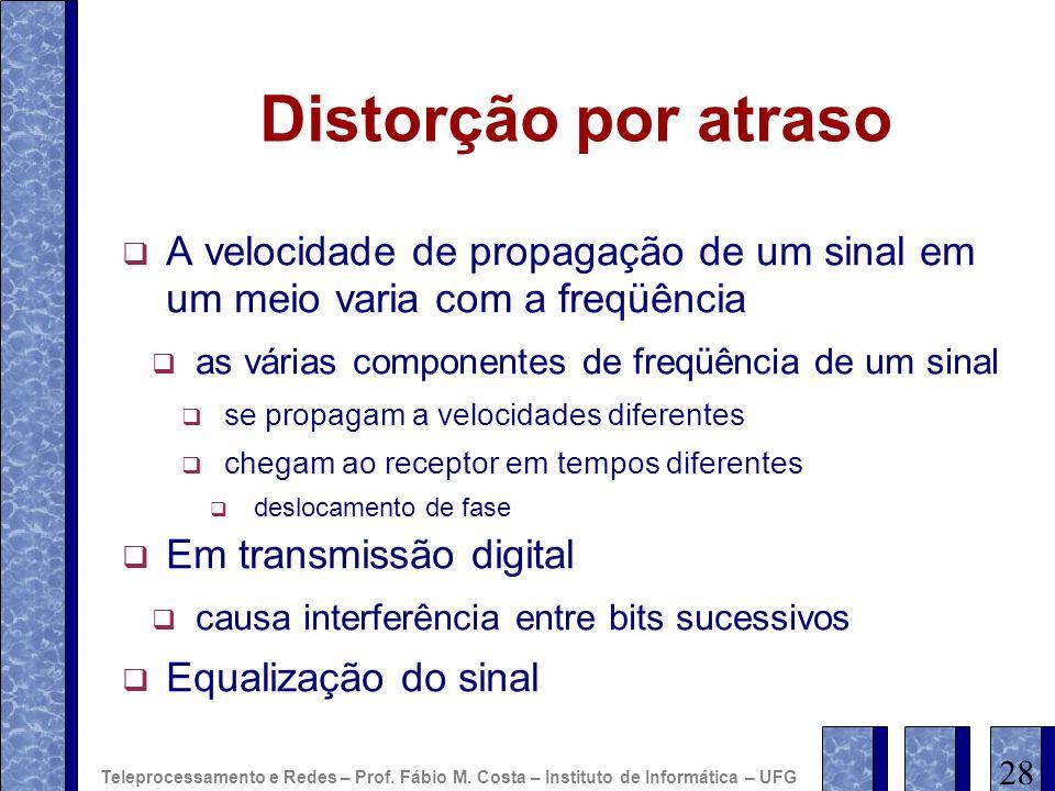Distorção por atraso A velocidade de propagação de um sinal em um meio varia com a freqüência as várias componentes de freqüência de um sinal se propa