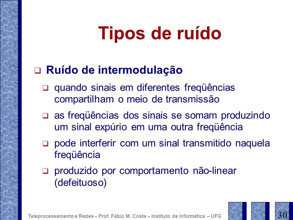 Tipos de ruído Ruído de intermodulação quando sinais em diferentes freqüências compartilham o meio de transmissão as freqüências dos sinais se somam p