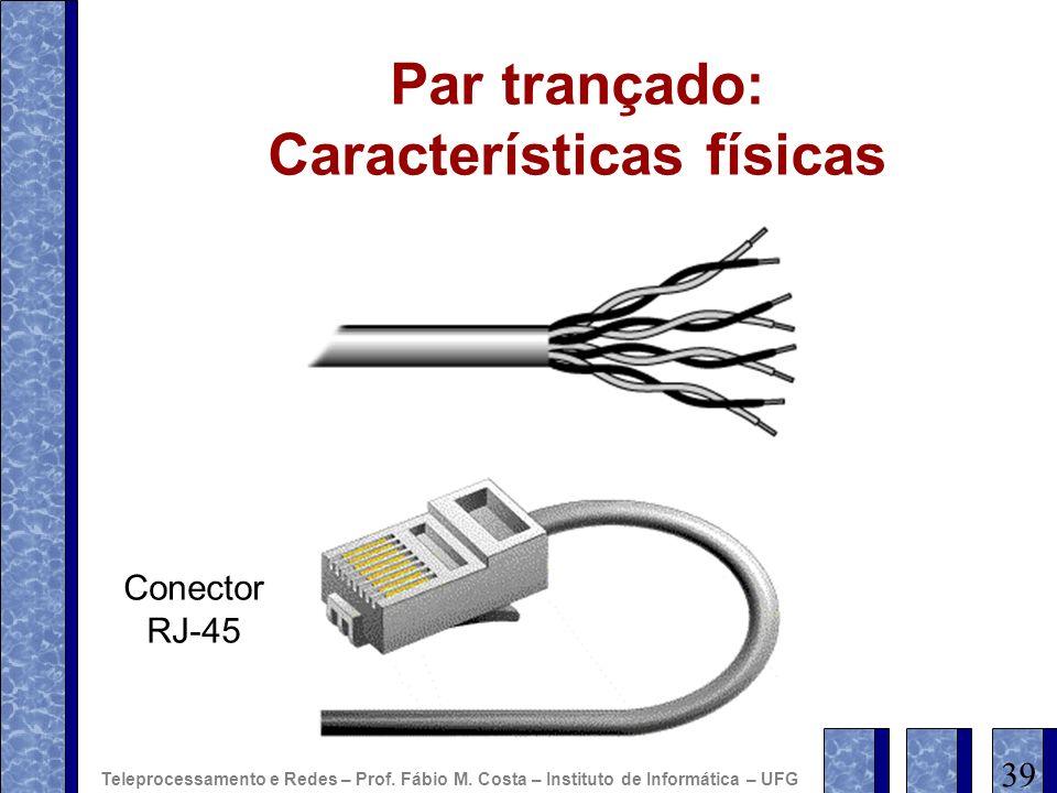 Par trançado: Características físicas Conector RJ-45 39 Teleprocessamento e Redes – Prof. Fábio M. Costa – Instituto de Informática – UFG