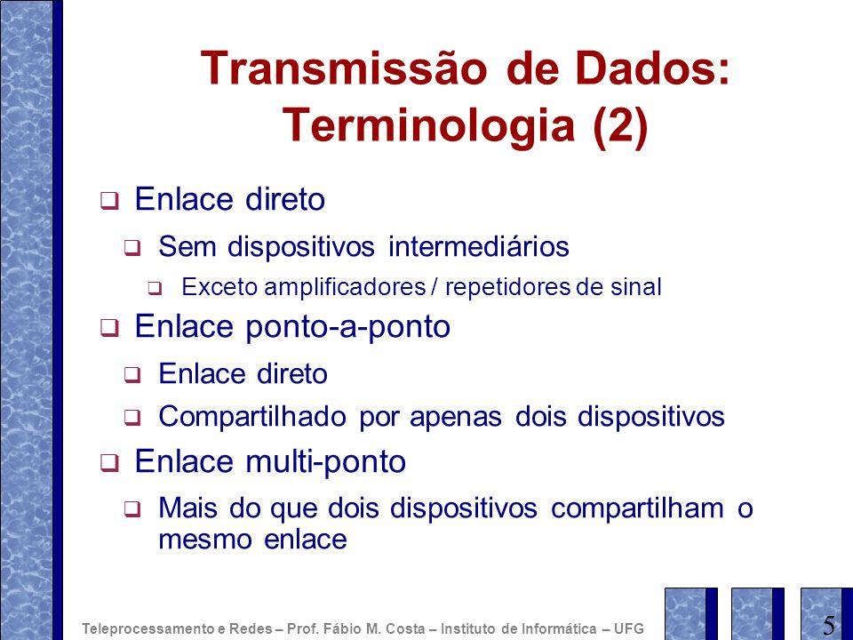Transmissão de Dados: Terminologia (2) Enlace direto Sem dispositivos intermediários Exceto amplificadores / repetidores de sinal Enlace ponto-a-ponto