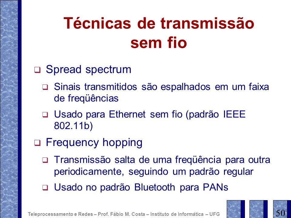 Técnicas de transmissão sem fio Spread spectrum Sinais transmitidos são espalhados em um faixa de freqüências Usado para Ethernet sem fio (padrão IEEE