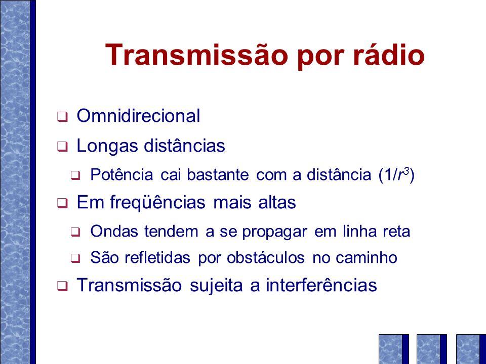 Transmissão por rádio Omnidirecional Longas distâncias Potência cai bastante com a distância (1/r 3 ) Em freqüências mais altas Ondas tendem a se prop
