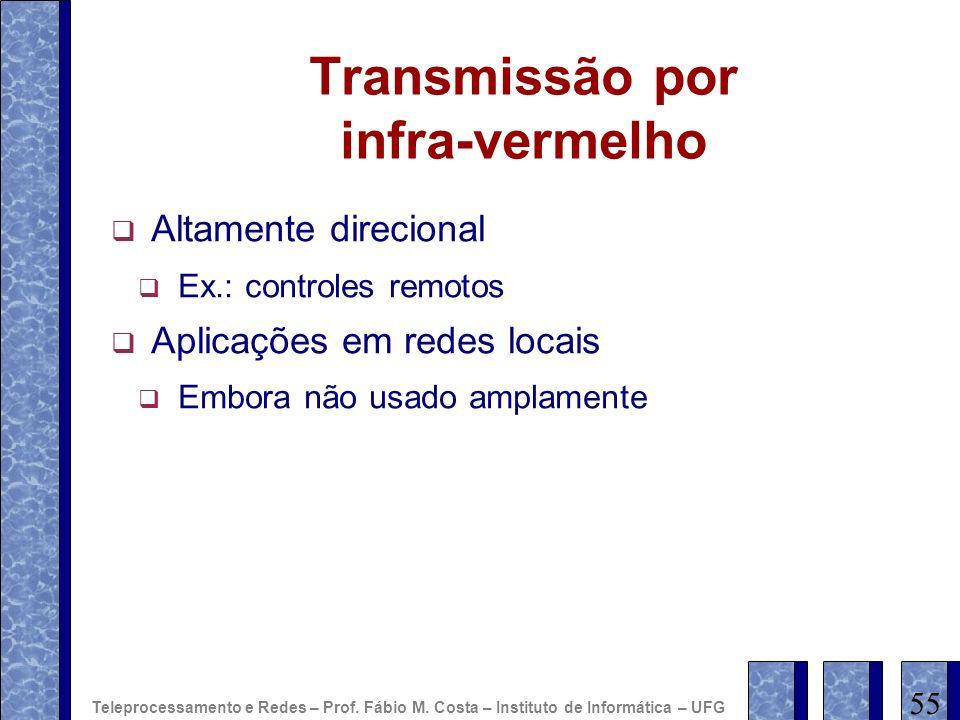 Transmissão por infra-vermelho Altamente direcional Ex.: controles remotos Aplicações em redes locais Embora não usado amplamente 55 Teleprocessamento