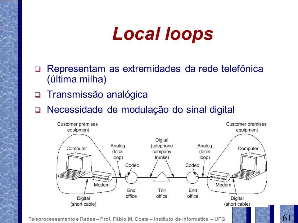 Local loops Representam as extremidades da rede telefônica (última milha) Transmissão analógica Necessidade de modulação do sinal digital 61 Teleproce