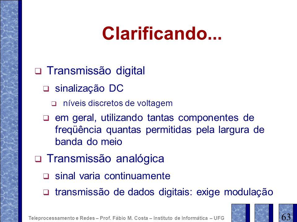 Clarificando... Transmissão digital sinalização DC níveis discretos de voltagem em geral, utilizando tantas componentes de freqüência quantas permitid