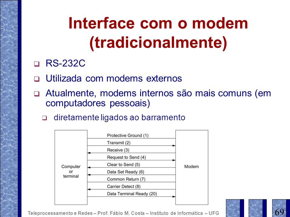 Interface com o modem (tradicionalmente) RS-232C Utilizada com modems externos Atualmente, modems internos são mais comuns (em computadores pessoais)