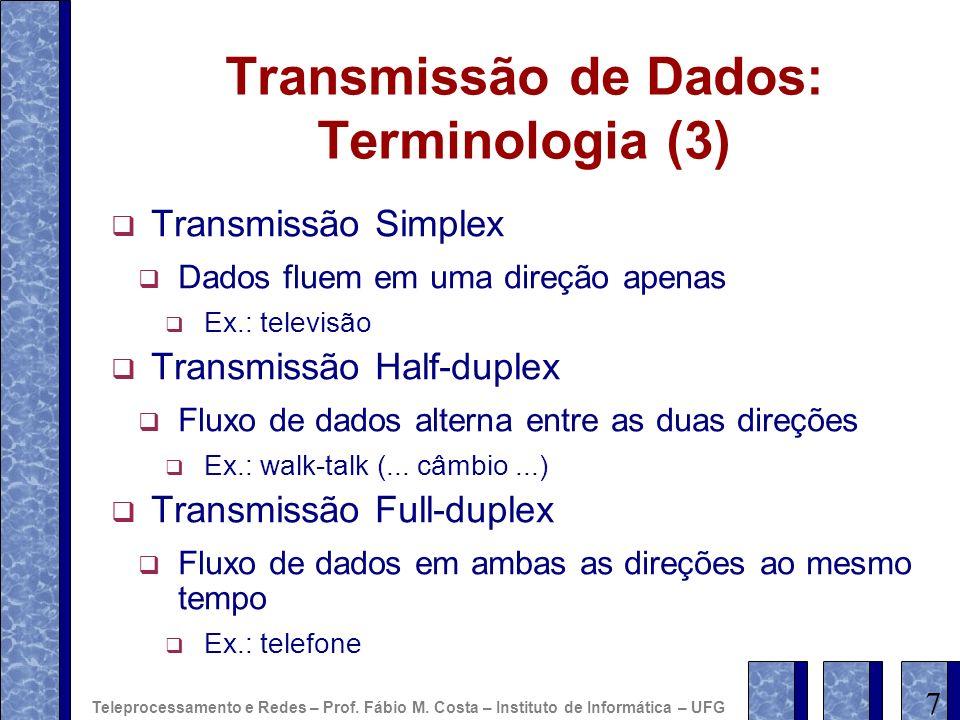 Transmissão de Dados: Terminologia (3) Transmissão Simplex Dados fluem em uma direção apenas Ex.: televisão Transmissão Half-duplex Fluxo de dados alt