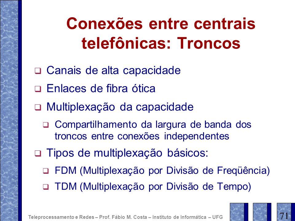 Conexões entre centrais telefônicas: Troncos Canais de alta capacidade Enlaces de fibra ótica Multiplexação da capacidade Compartilhamento da largura