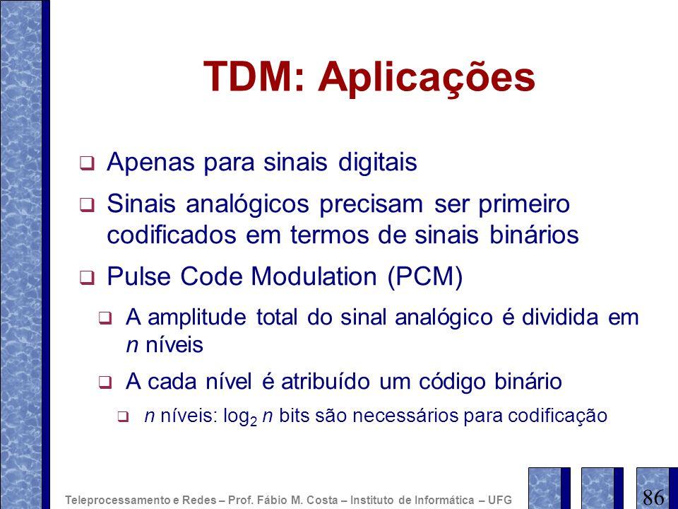 TDM: Aplicações Apenas para sinais digitais Sinais analógicos precisam ser primeiro codificados em termos de sinais binários Pulse Code Modulation (PC