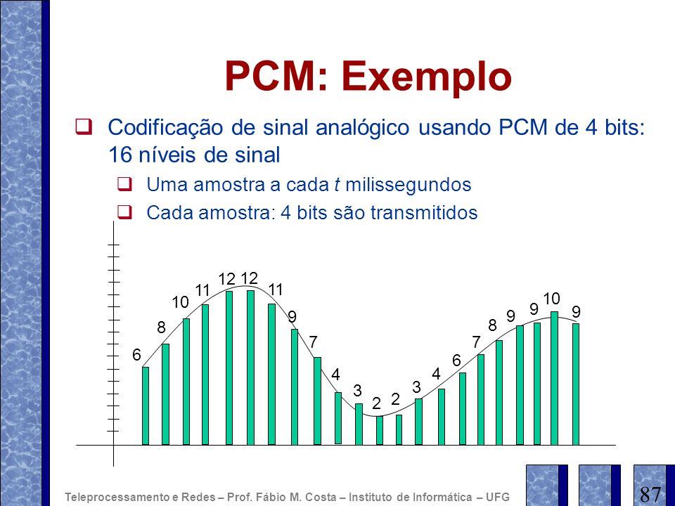 PCM: Exemplo Codificação de sinal analógico usando PCM de 4 bits: 16 níveis de sinal Uma amostra a cada t milissegundos Cada amostra: 4 bits são trans