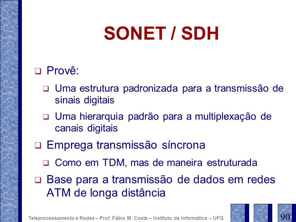 SONET / SDH Provê: Uma estrutura padronizada para a transmissão de sinais digitais Uma hierarquia padrão para a multiplexação de canais digitais Empre