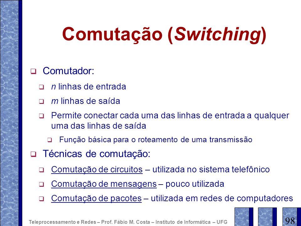 Comutação (Switching) Comutador: n linhas de entrada m linhas de saída Permite conectar cada uma das linhas de entrada a qualquer uma das linhas de sa