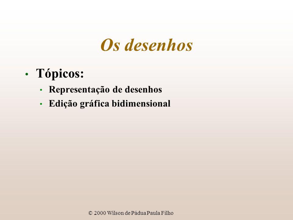 © 2000 Wilson de Pádua Paula Filho Representação de desenhos Formatos de desenhos: representação no espaço de objetos = representação vetorial (geométrica); primitiva gráfica - unidade de dado geométrico; entidade gráfica - primitiva ou coleção de primitivas.