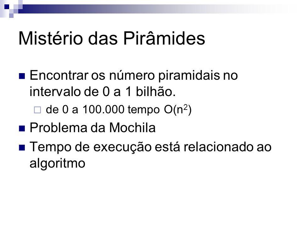 Mistério das Pirâmides Encontrar os número piramidais no intervalo de 0 a 1 bilhão. de 0 a 100.000 tempo O(n 2 ) Problema da Mochila Tempo de execução