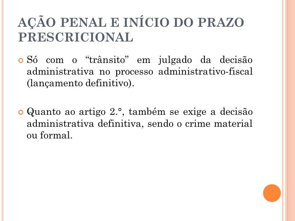 AÇÃO PENAL E INÍCIO DO PRAZO PRESCRICIONAL Só com o trânsito em julgado da decisão administrativa no processo administrativo-fiscal (lançamento defini