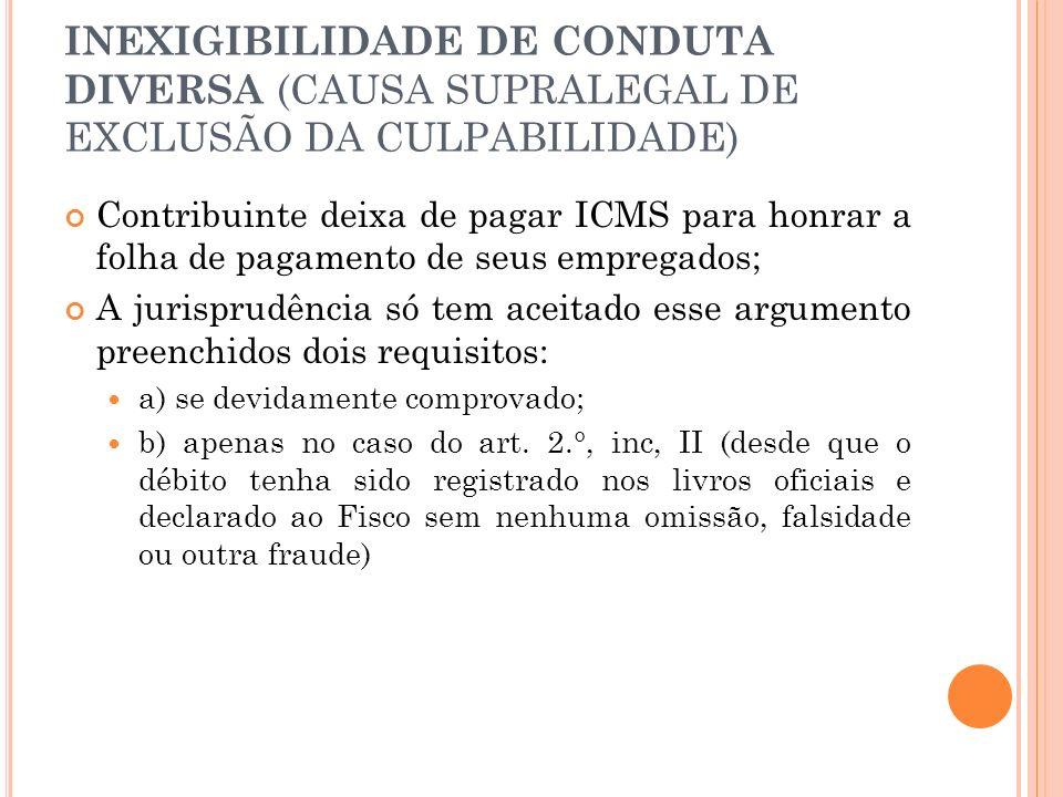 INEXIGIBILIDADE DE CONDUTA DIVERSA (CAUSA SUPRALEGAL DE EXCLUSÃO DA CULPABILIDADE) Contribuinte deixa de pagar ICMS para honrar a folha de pagamento d