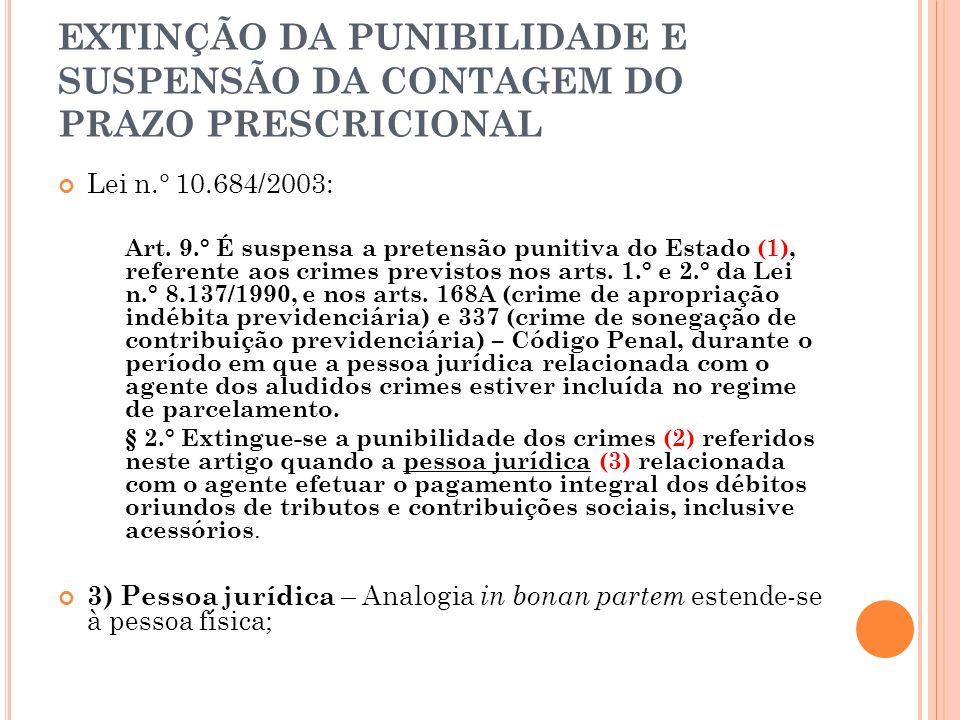 EXTINÇÃO DA PUNIBILIDADE E SUSPENSÃO DA CONTAGEM DO PRAZO PRESCRICIONAL Lei n.° 10.684/2003: Art. 9.° É suspensa a pretensão punitiva do Estado (1), r