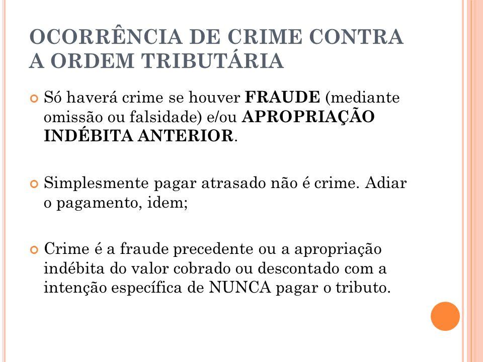 OCORRÊNCIA DE CRIME CONTRA A ORDEM TRIBUTÁRIA Só haverá crime se houver FRAUDE (mediante omissão ou falsidade) e/ou APROPRIAÇÃO INDÉBITA ANTERIOR. Sim