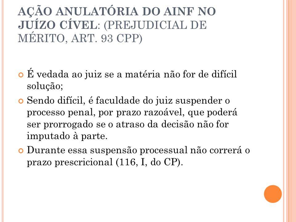 AÇÃO ANULATÓRIA DO AINF NO JUÍZO CÍVEL : (PREJUDICIAL DE MÉRITO, ART. 93 CPP) É vedada ao juiz se a matéria não for de difícil solução; Sendo difícil,