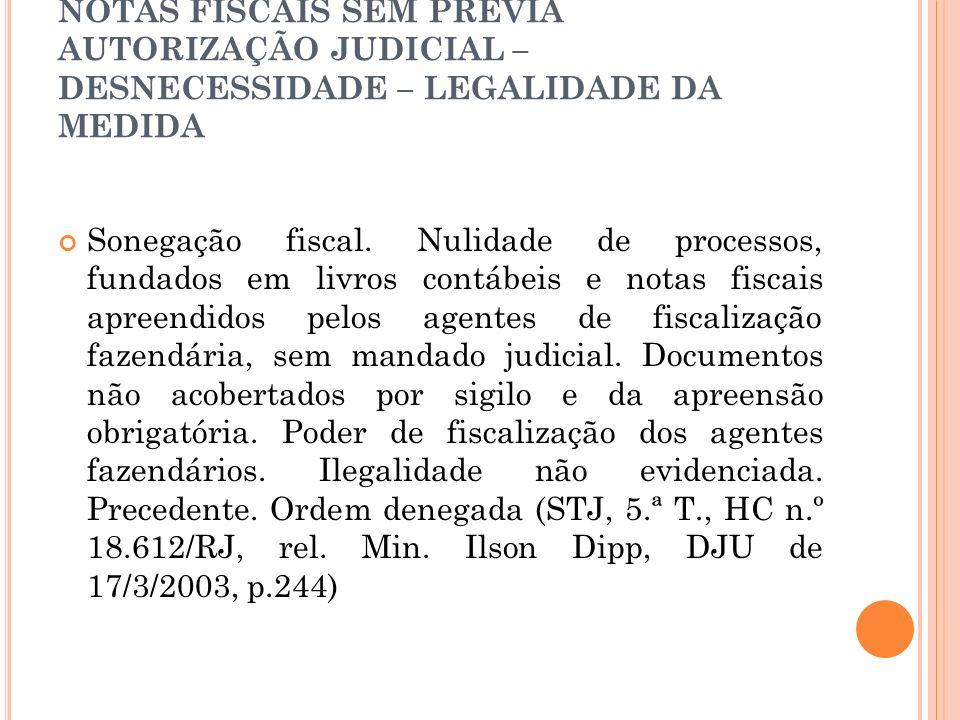APREENSÃO DE LIVROS CONTÁBEIS E NOTAS FISCAIS SEM PRÉVIA AUTORIZAÇÃO JUDICIAL – DESNECESSIDADE – LEGALIDADE DA MEDIDA Sonegação fiscal. Nulidade de pr