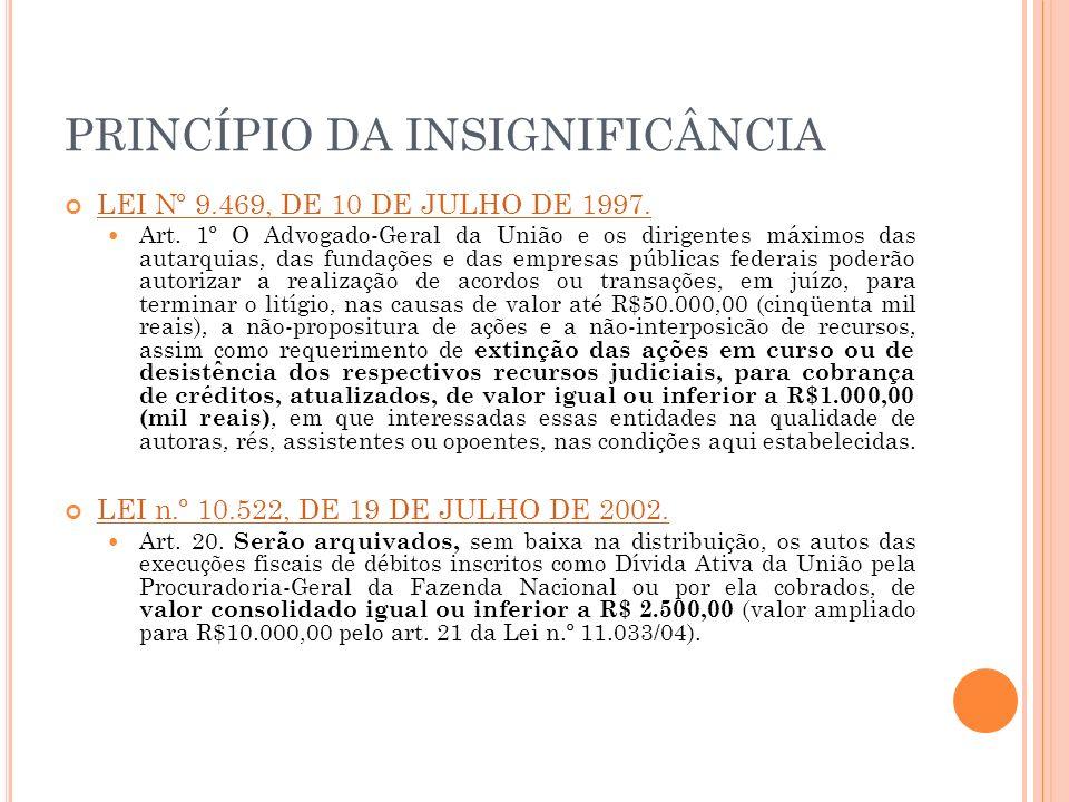 PRINCÍPIO DA INSIGNIFICÂNCIA LEI Nº 9.469, DE 10 DE JULHO DE 1997. LEI Nº 9.469, DE 10 DE JULHO DE 1997. Art. 1º O Advogado-Geral da União e os dirige
