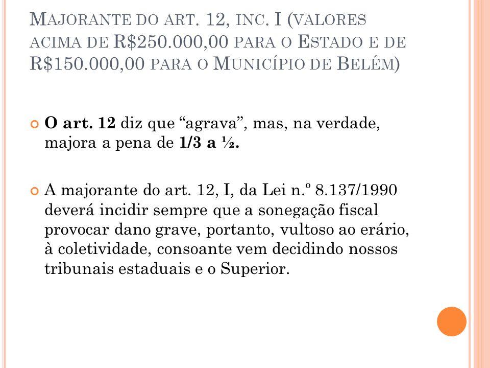 M AJORANTE DO ART. 12, INC. I ( VALORES ACIMA DE R$250.000,00 PARA O E STADO E DE R$150.000,00 PARA O M UNICÍPIO DE B ELÉM ) O art. 12 diz que agrava,