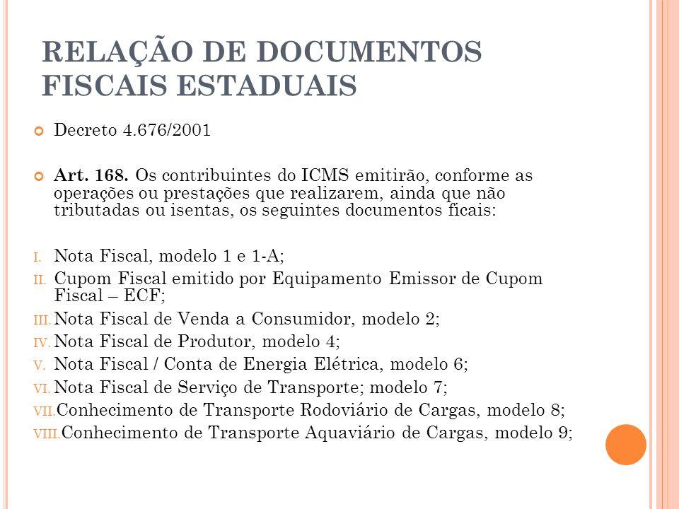 RELAÇÃO DE DOCUMENTOS FISCAIS ESTADUAIS Decreto 4.676/2001 Art. 168. Os contribuintes do ICMS emitirão, conforme as operações ou prestações que realiz