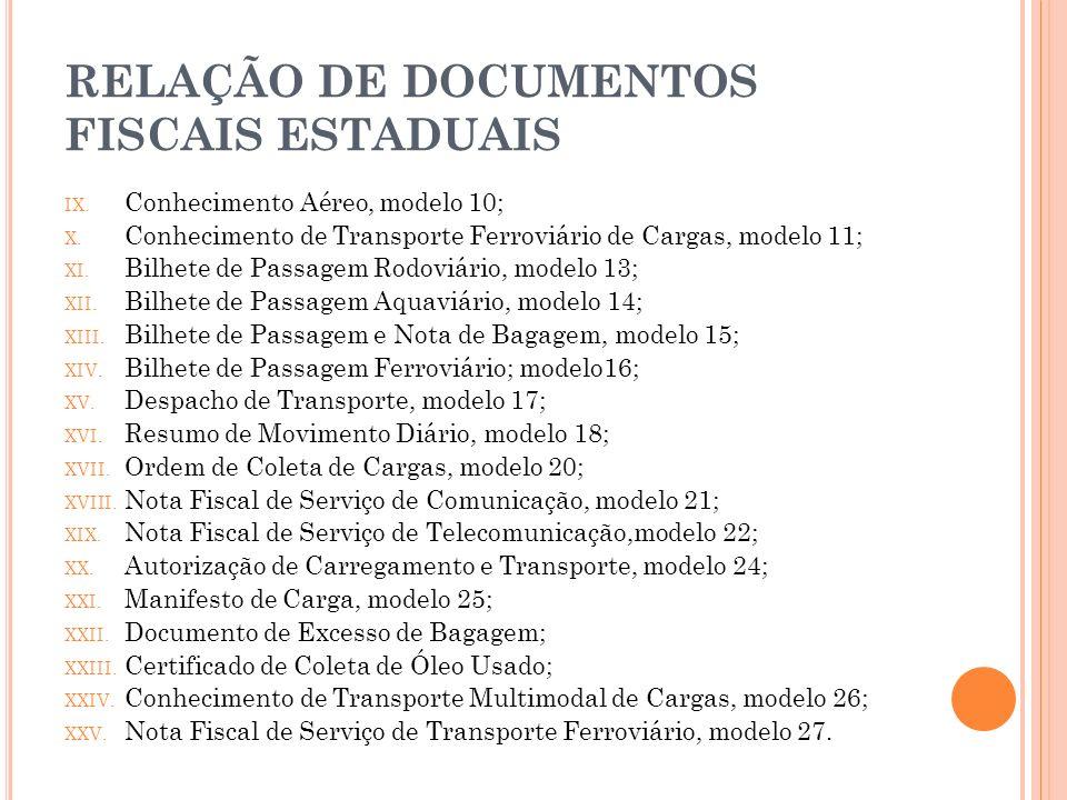 RELAÇÃO DE DOCUMENTOS FISCAIS ESTADUAIS IX. Conhecimento Aéreo, modelo 10; X. Conhecimento de Transporte Ferroviário de Cargas, modelo 11; XI. Bilhete