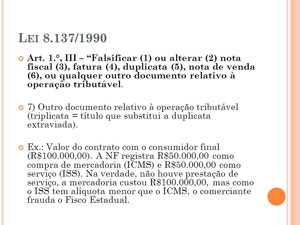 L EI 8.137/1990 Art. 1.°, III – Falsificar (1) ou alterar (2) nota fiscal (3), fatura (4), duplicata (5), nota de venda (6), ou qualquer outro documen