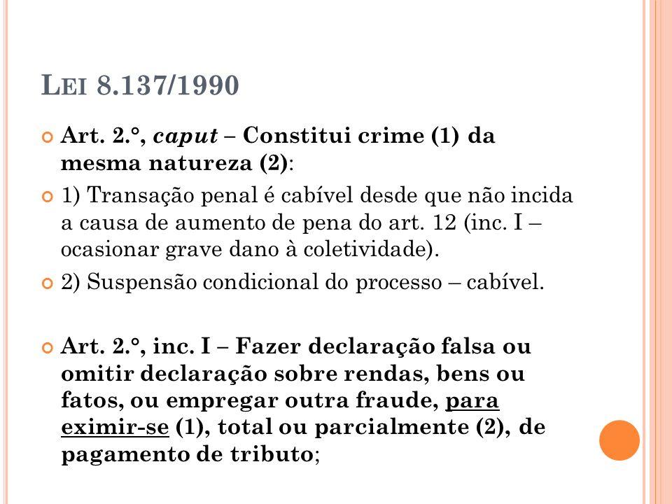 L EI 8.137/1990 Art. 2.°, caput – Constitui crime (1) da mesma natureza (2) : 1) Transação penal é cabível desde que não incida a causa de aumento de