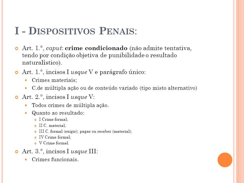 I - D ISPOSITIVOS P ENAIS : Art. 1.°, caput : crime condicionado (não admite tentativa, tendo por condição objetiva de punibilidade o resultado natura