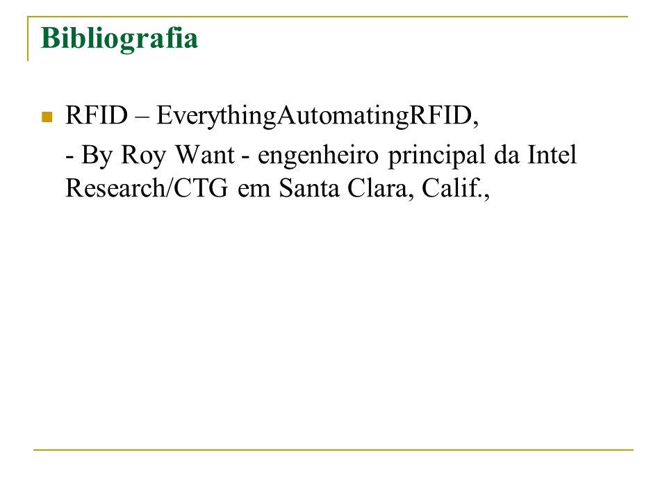 Bibliografia RFID – EverythingAutomatingRFID, - By Roy Want - engenheiro principal da Intel Research/CTG em Santa Clara, Calif.,