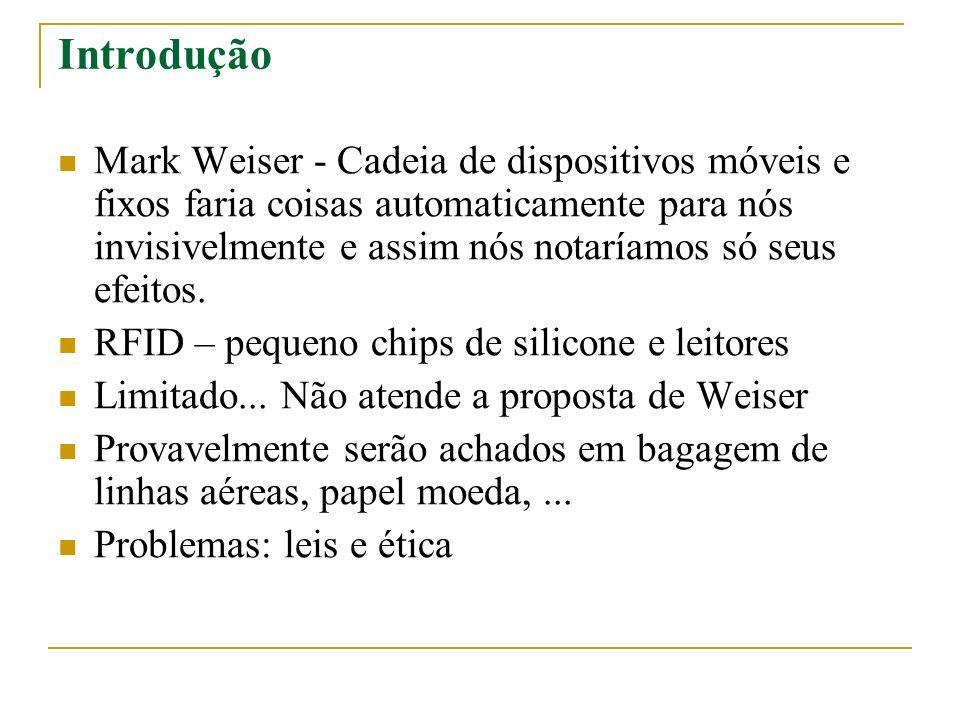 Conhecendo o RFID Circuito eletrônico Não requer bateria – energia radiofundida Sistemas de alta- freqüência e baixa-freqüência Etiquetas (chips) carregam informações