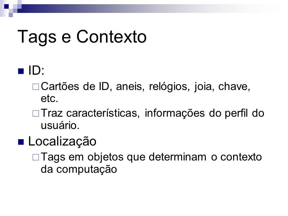 Tags e Contexto ID: Cartões de ID, aneis, relógios, joia, chave, etc. Traz características, informações do perfil do usuário. Localização Tags em obje