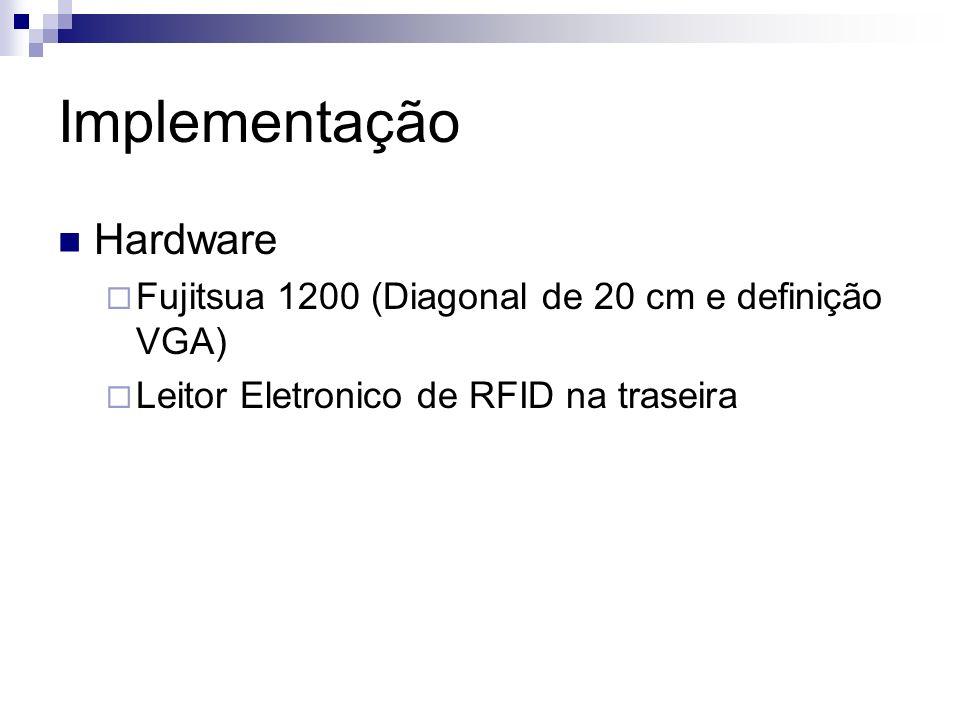 Implementação Hardware Fujitsua 1200 (Diagonal de 20 cm e definição VGA) Leitor Eletronico de RFID na traseira