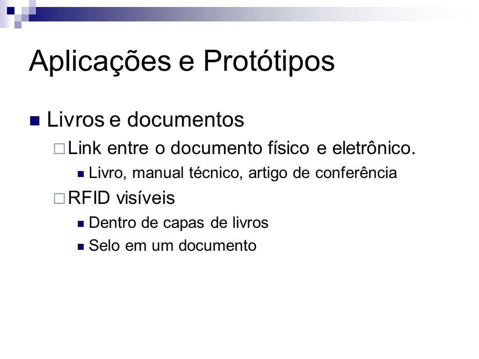 Aplicações e Protótipos Livros e documentos Link entre o documento físico e eletrônico. Livro, manual técnico, artigo de conferência RFID visíveis Den