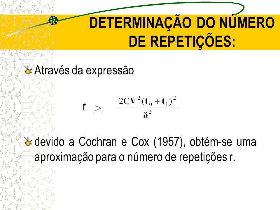 DETERMINAÇÃO DO NÚMERO DE REPETIÇÕES: Através da expressão r devido a Cochran e Cox (1957), obtém-se uma aproximação para o número de repetições r.