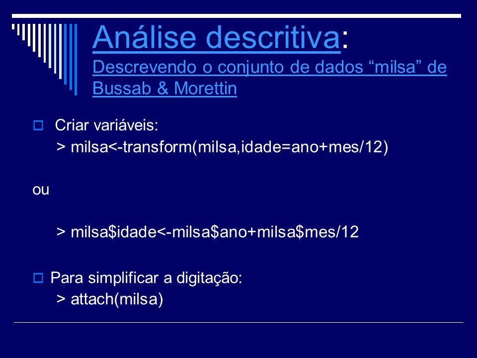 Análise descritivaAnálise descritiva: Descrevendo o conjunto de dados milsa de Bussab & Morettin Descrevendo o conjunto de dados milsa de Bussab & Mor