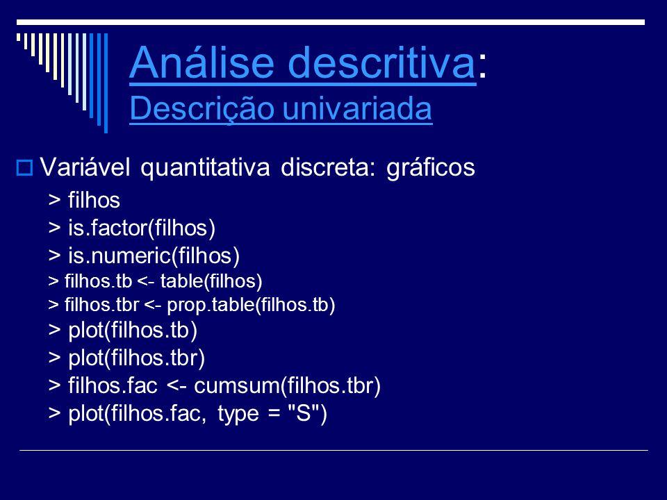 Análise descritivaAnálise descritiva: Descrição univariada Descrição univariada Variável quantitativa discreta: gráficos > filhos > is.factor(filhos)