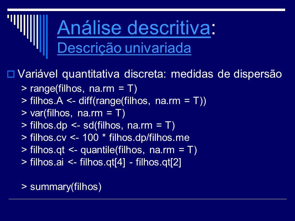 Análise descritivaAnálise descritiva: Descrição univariada Descrição univariada Variável quantitativa discreta: medidas de dispersão > range(filhos, n