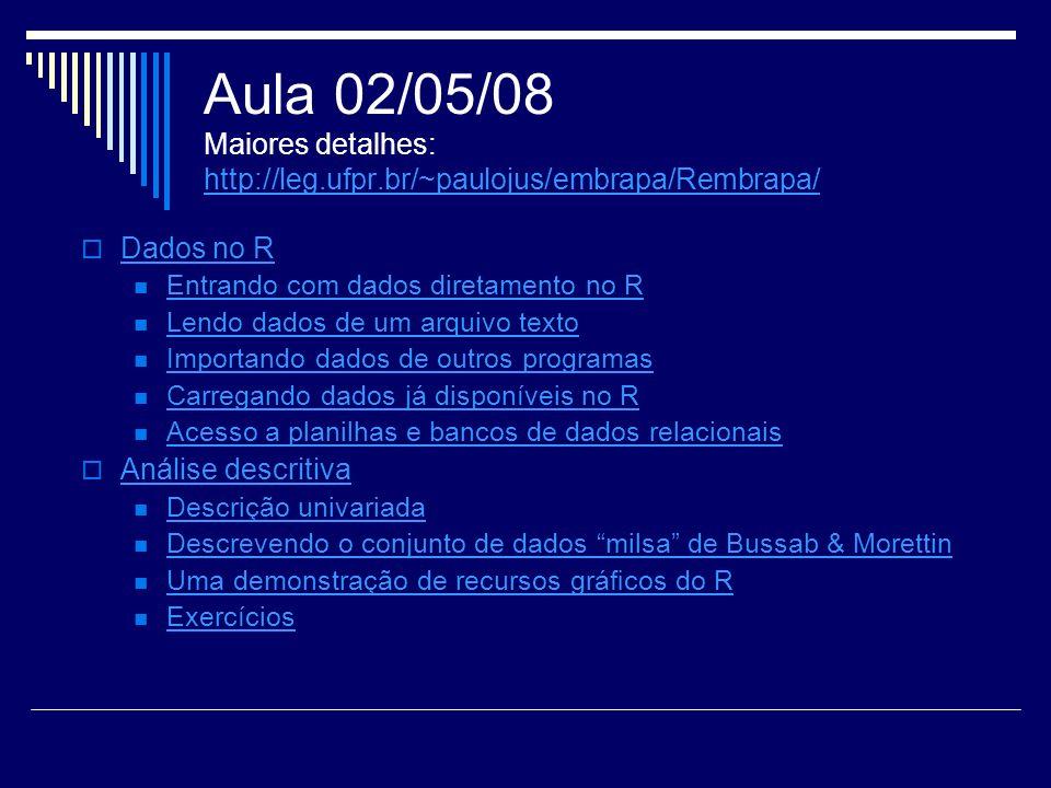 Aula 02/05/08 Maiores detalhes: http://leg.ufpr.br/~paulojus/embrapa/Rembrapa/ http://leg.ufpr.br/~paulojus/embrapa/Rembrapa/ Dados no R Entrando com