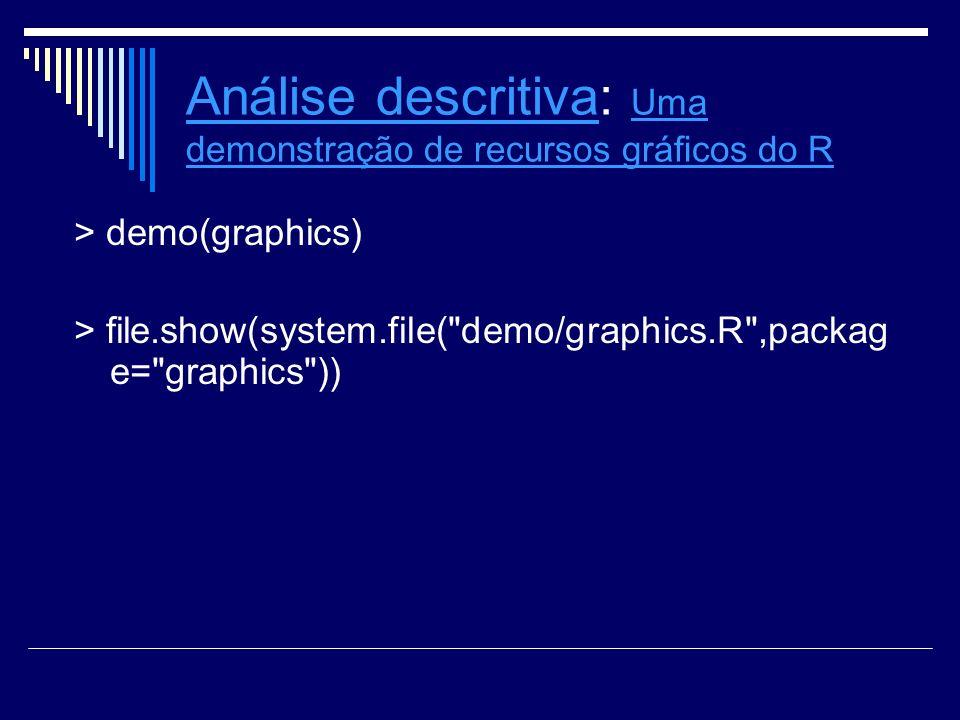 Análise descritivaAnálise descritiva: Uma demonstração de recursos grácos do R Uma demonstração de recursos grácos do R > demo(graphics) > file.show(s