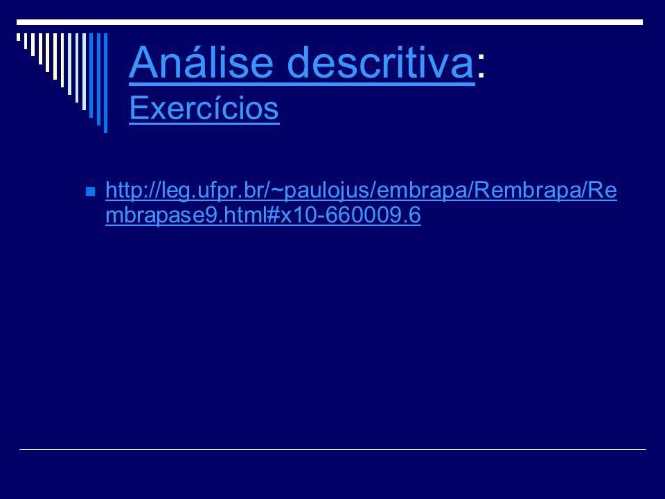 Análise descritivaAnálise descritiva: Exercícios Exercícios http://leg.ufpr.br/~paulojus/embrapa/Rembrapa/Re mbrapase9.html#x10-660009.6 http://leg.uf