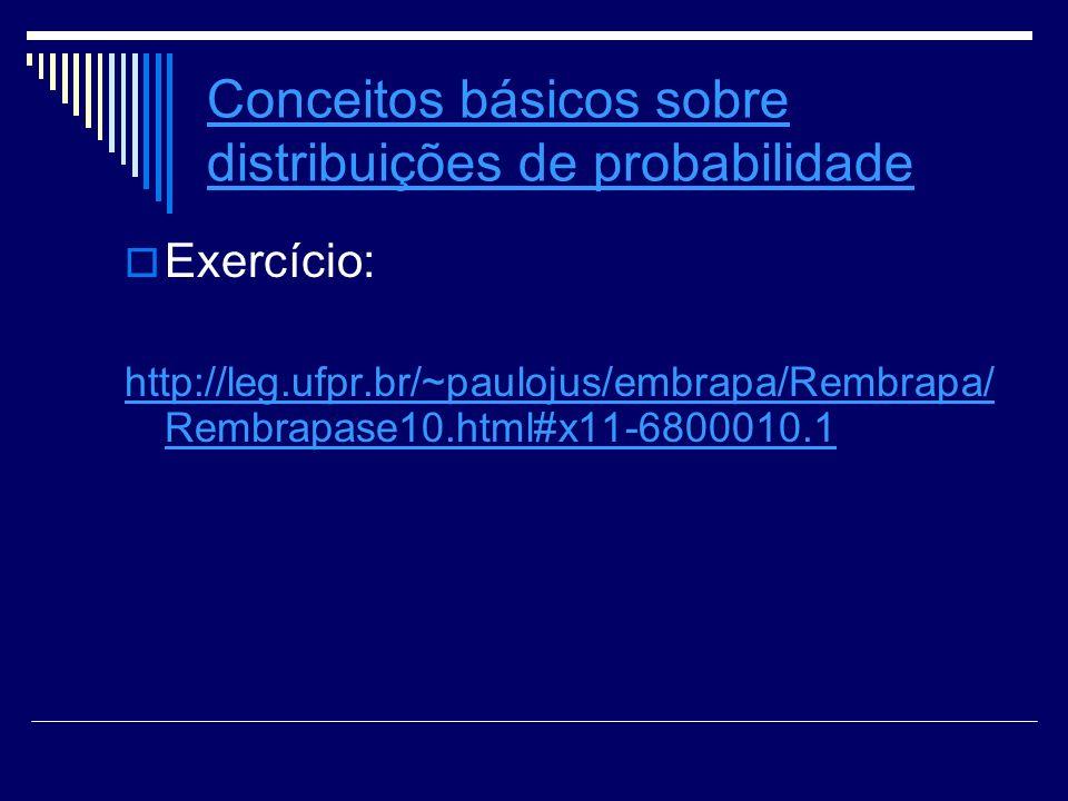 Conceitos básicos sobre distribuições de probabilidade Exercício: http://leg.ufpr.br/~paulojus/embrapa/Rembrapa/ Rembrapase10.html#x11-6800010.1