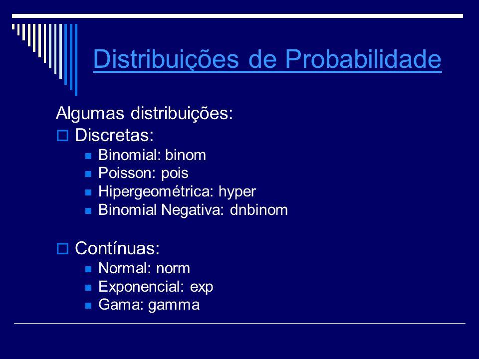 Distribuições de Probabilidade Algumas distribuições: Discretas: Binomial: binom Poisson: pois Hipergeométrica: hyper Binomial Negativa: dnbinom Contí