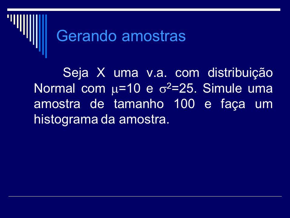 Gerando amostras Seja X uma v.a. com distribuição Normal com =10 e 2 =25. Simule uma amostra de tamanho 100 e faça um histograma da amostra.